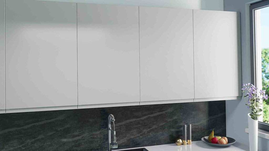 Handleless doors in pale grey for IKEA Faktum kitchens