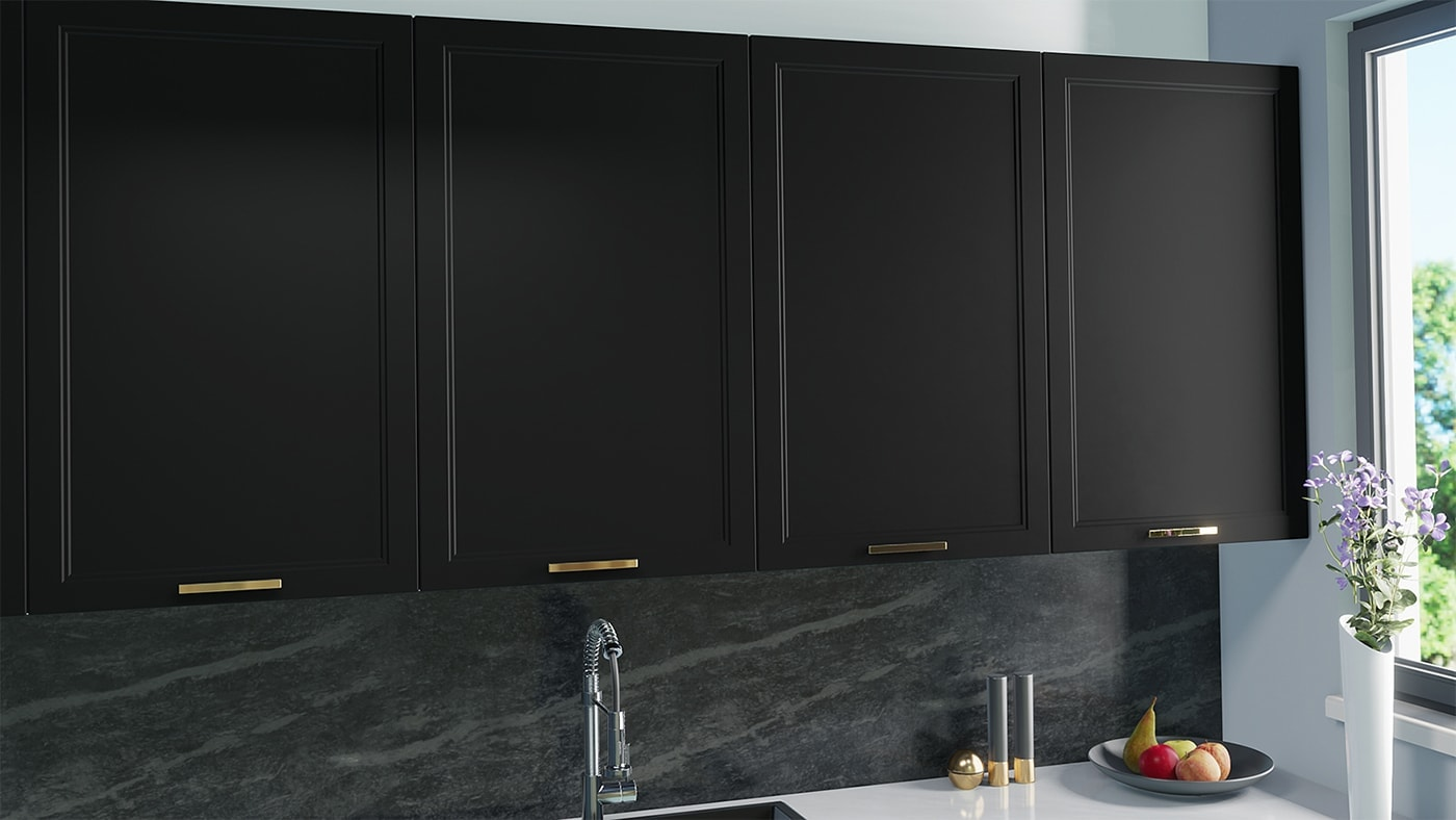 New doors for IKEA Faktum kitchen cabinets. Black Matte + Double Shaker