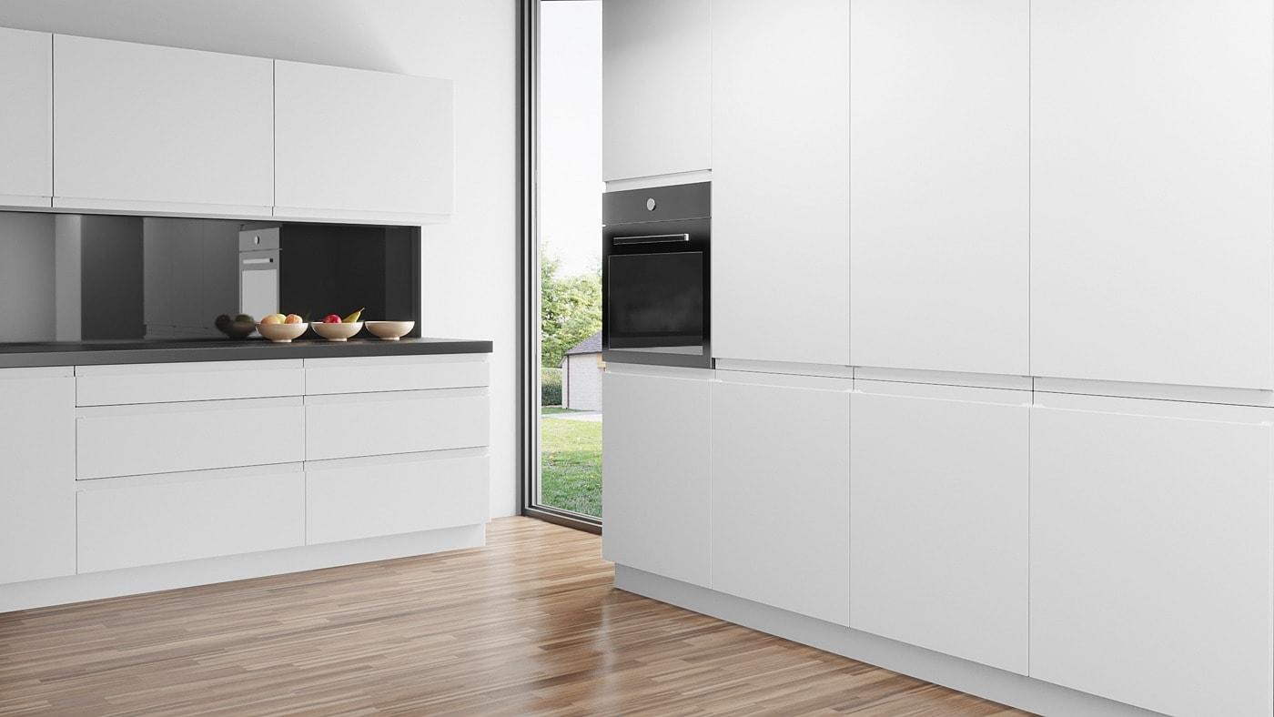 Handleless U12 doors in Alpine White for IKEA Faktum kitchens